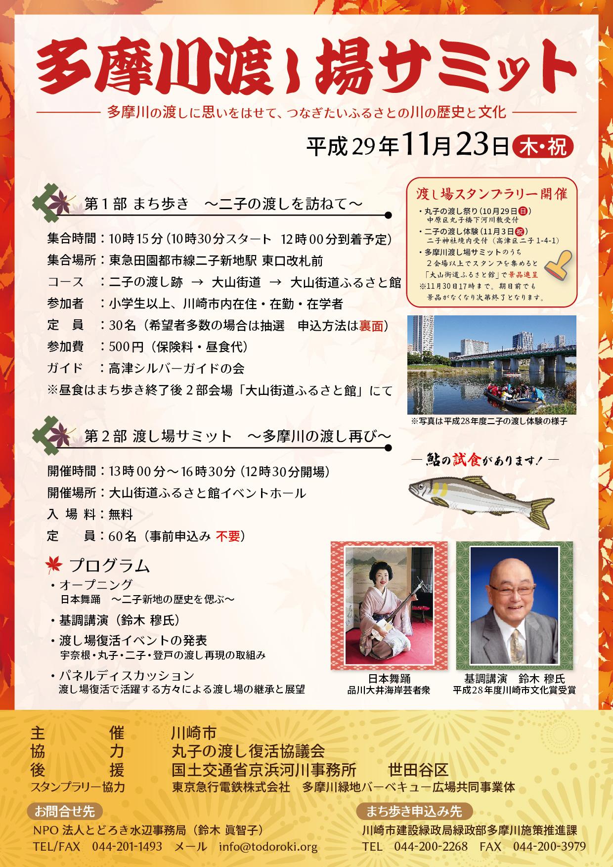 多摩川渡し場サミット チラシ表